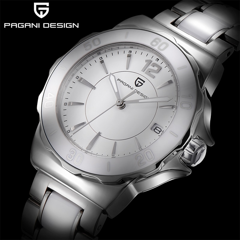 PAGANI DESIGN Women Quartz Watch Fashion High-End Ceramic Bezel Watch Automatic Date Waterproof Lumi