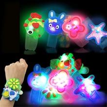 1pc Cartoon Luminous Bracelets Watch Boys Girls Flash Wrist Band Glow In Dark Children's Day Birthda