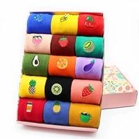 harajuku kawaii funny cotton women socks fashion korean cute candy color fruits banana kiwi apple cherry casual socks