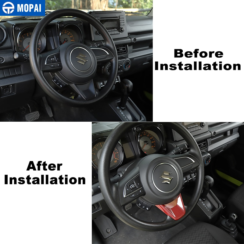 MOPAI Automotive Interior Stickers for Suzuki Jimny JB74 Car Steering Wheel Decoration Cover for Suzuki Jimny 2019+ Accessories