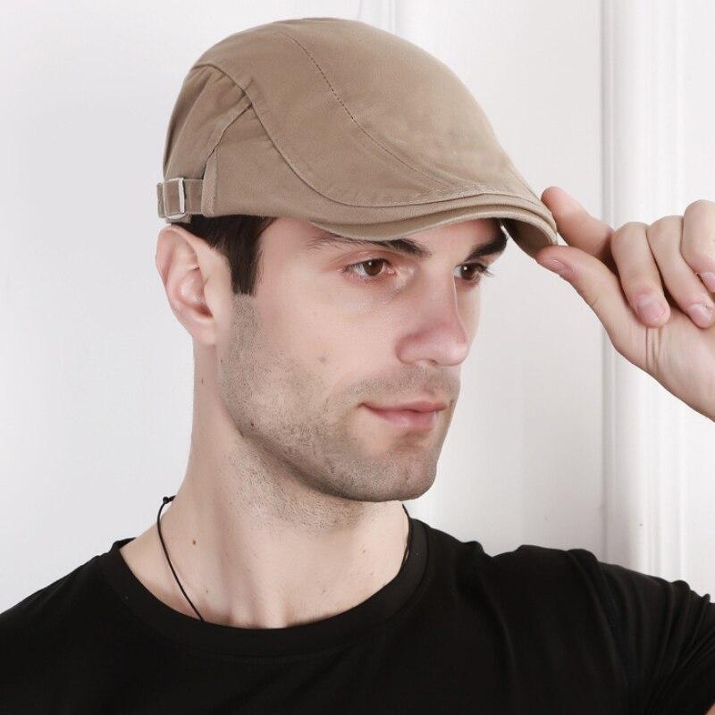 New Men Casual Adjustable Cotton Solid Beret Cap Hats Ivy cowboy Hat Golf Driving Flat Cabbie Newsboy Caps недорого