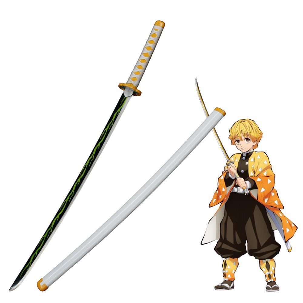 Demonio Slayer Kimetsu no Yaiba japonés Anime Agatsuma Zenitsu Cosplay réplica espada acero al carbono