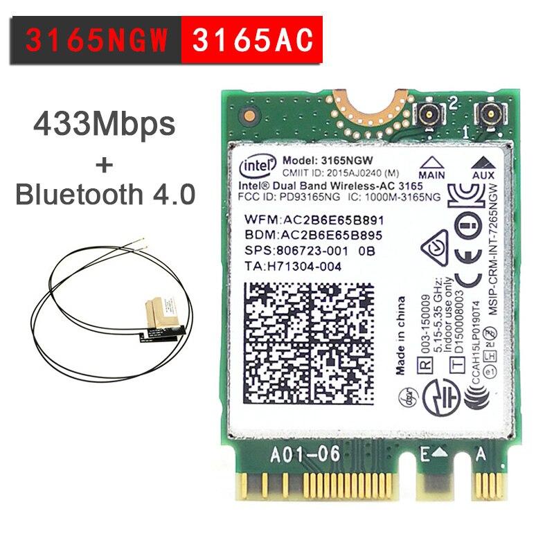 Cartão + Bluetooth Placa de Rede 5ghz sem Fio-ac Banda Dupla Intel 3165 Ngff 802.11ac Wifi 3165ngw M.2 Wlan 4.0 2 Antena 2.4g –
