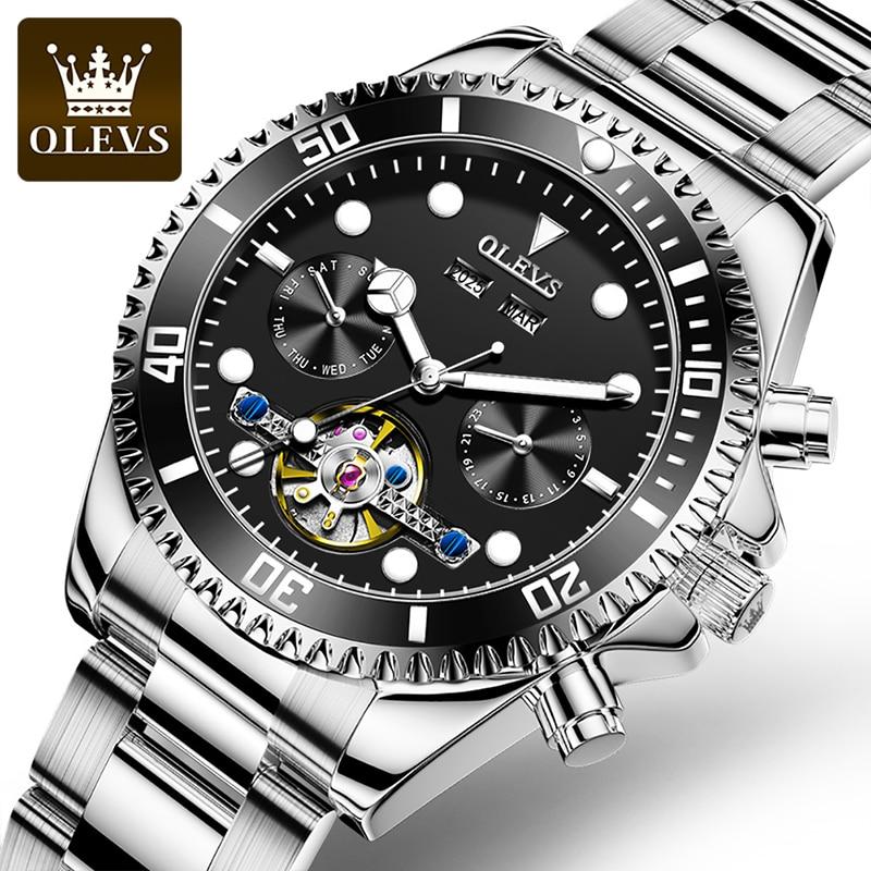 OLEVS 2021 New Men Green Ghost Water Luxury Automatic Mechanical Multifunctional Waterproof Luminous Week Display Watches 6605 enlarge