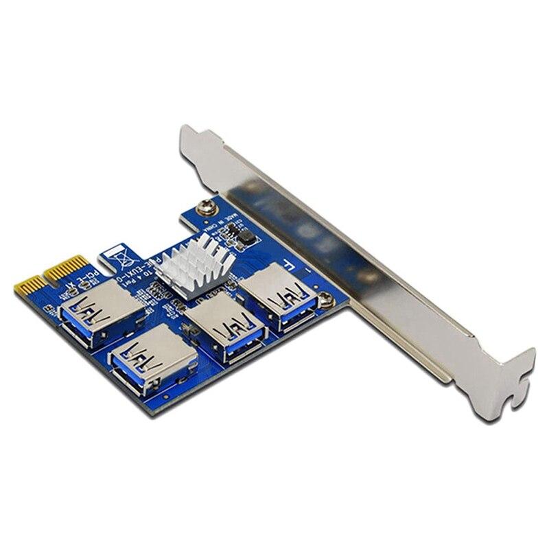بطاقة مهايئ PCI-E فتحة واحدة لأربعة USB3.0 PCI-E 1X إلى PCI-E 16X بطاقة جرافيكس بطاقة توسيع لتعدين BTC