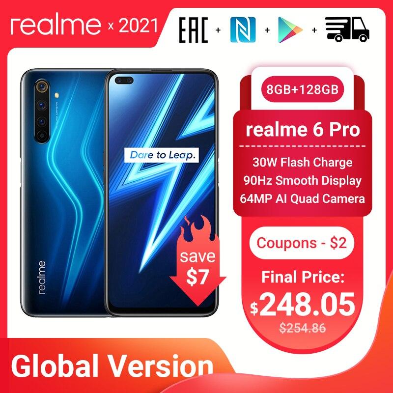Смартфон Realme 6 Pro глобальная Версия 8 + 128 Гб, камера 64 мп, Snapdragon 720G, дисплей 6,6 дюйма, 90 Гц, быстрая зарядка, мобильный телефон 30 Вт, NFC