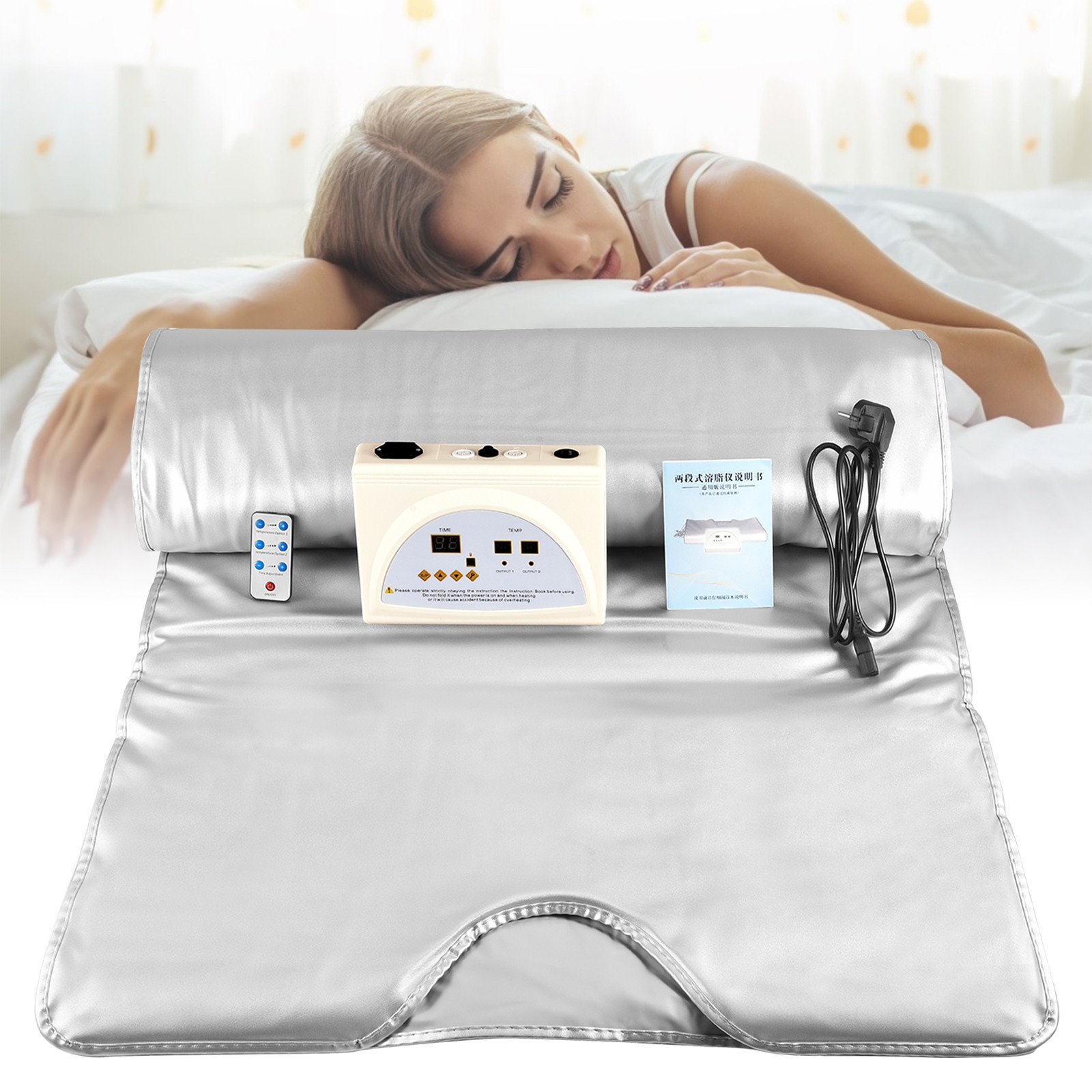 EU US 2 Zone Heating Sauna Blanket Romote Control Heating Blanket Body Weight Loss Sauna Detox Therapy Home Use