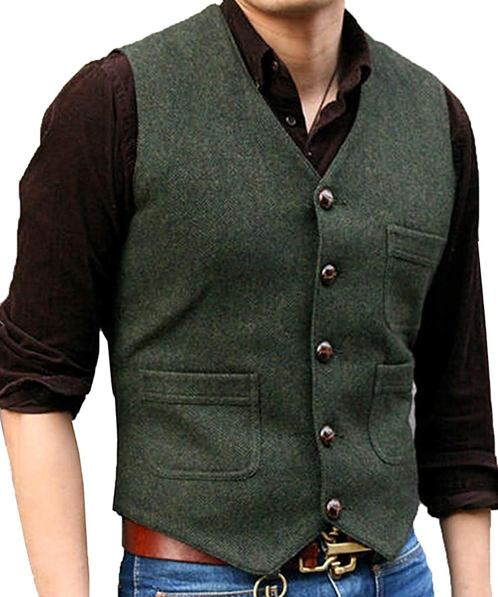 Mens Suit Vest V Neck Wool Herringbone Casual Formal Business Waistcoat Groomman For Wedding Green/Black/Brown