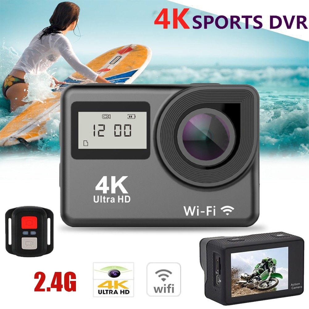 4K Ultra HD Action Camera Dual LCD Screen WiFi 20MP 170D 30m Go Waterproof Pro Sport DV Helmet Video Camera With Remote Control