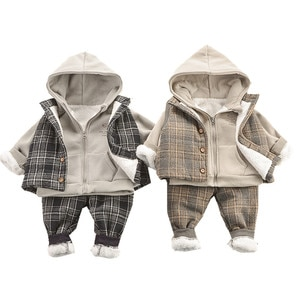 Winter Gentry Boys Outfits Baby Boy Clothes Cotton Thicken Warm Children's Clothing Thick Toddler Kids Suits Christmas Costume