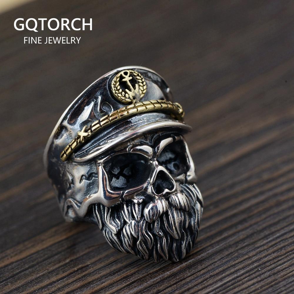 Мужское регулируемое кольцо с черепом и настоящим 925 пробы в стиле панк-рок, готическое ювелирное изделие