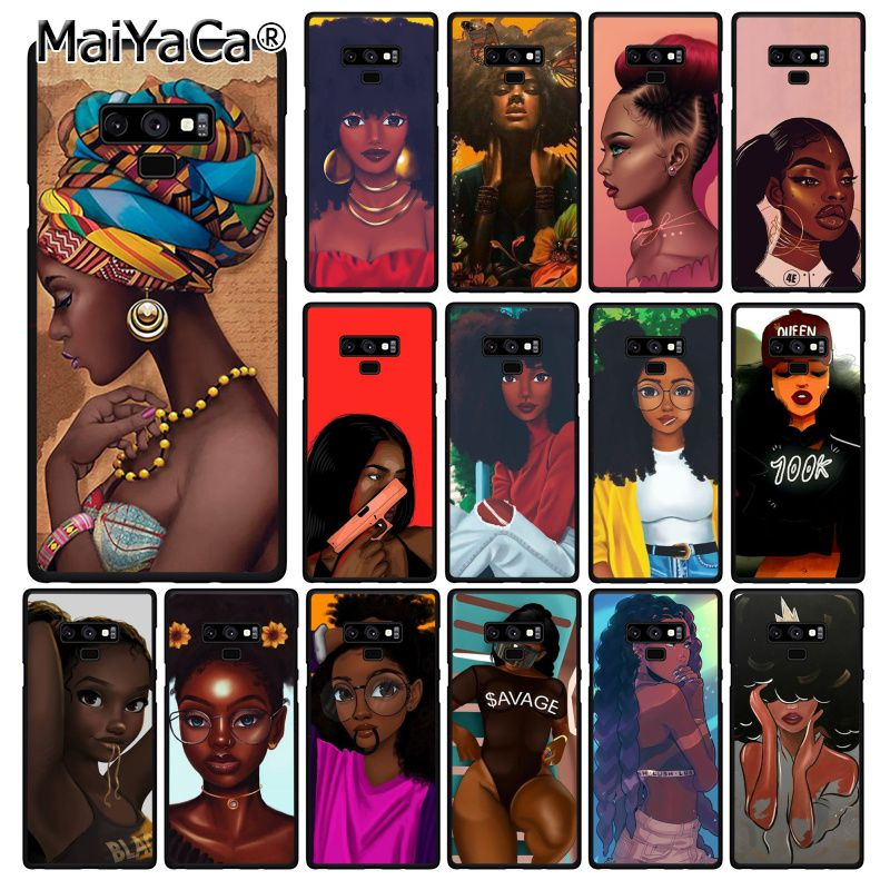 MaiYaCa 2bunz Melanin Poppin Black Girl African Beauty Phone Case For Samsung Galaxy A50 Note9 8 7 10 Pro 5 J5 J6 Prime J7DUO