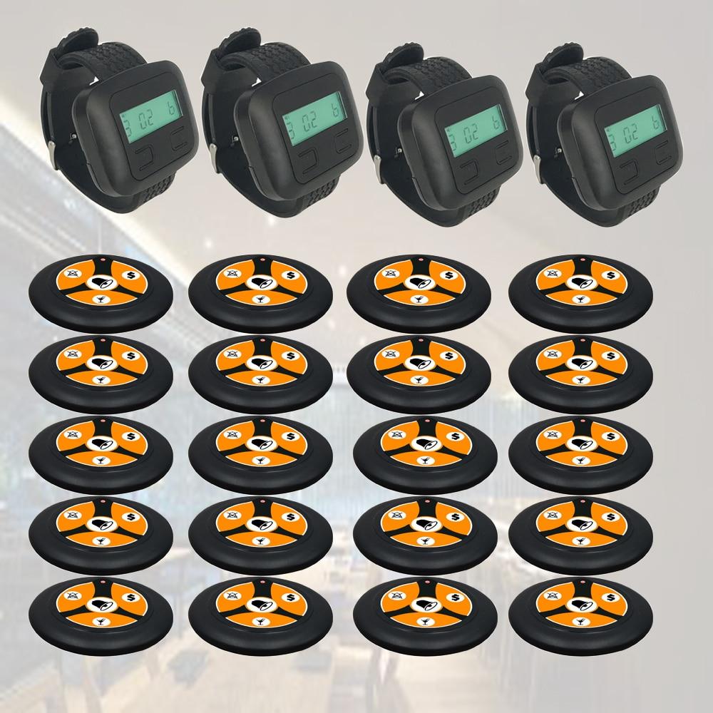 Wireless Waiter Buzzer Call System 4 Wristwatch Receiver + 20 Buttons Black For Restaurant Coffee