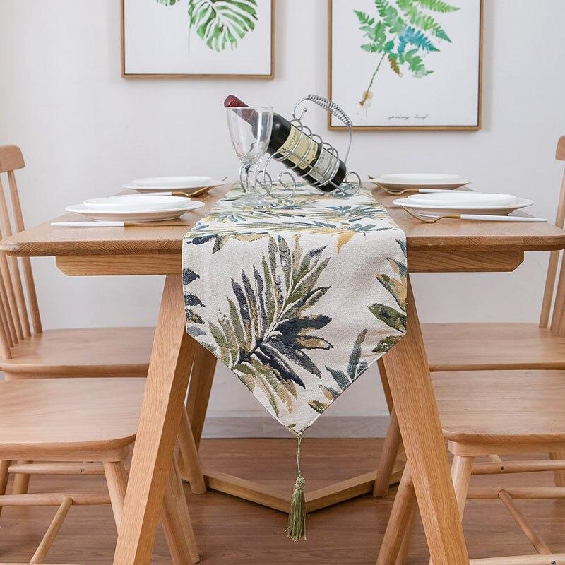 الجدول عداء Tablecloth العلم خزانة أحذية غطاء ملون يترك Vintage ديكور الزفاف طاولة الطعام اكسسوارات الديكور
