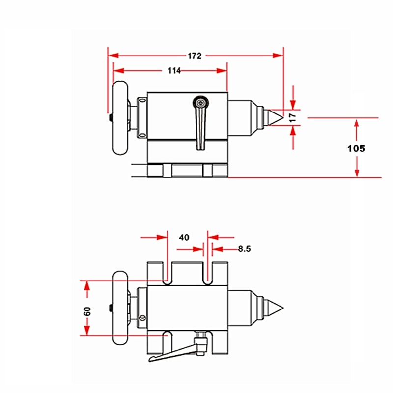 Higher Shorter Waterproof Center Height 105mm CNC Activity Tailstock For 4th Rotary A axis enlarge