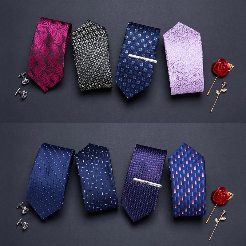 Роскошный мужской галстук 7,5 см 100% шелк жаккардовый тканый полосатый галстук мужской галстук для жениха аксессуары