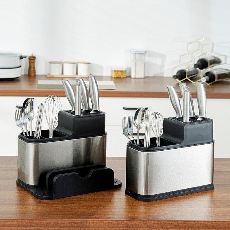 الفولاذ المقاوم للصدأ البلاستيك أواني المطبخ رف سكين حامل حامل أدوات المائدة حامل ألواح التقطيع كونترتوب التخزين المنظم