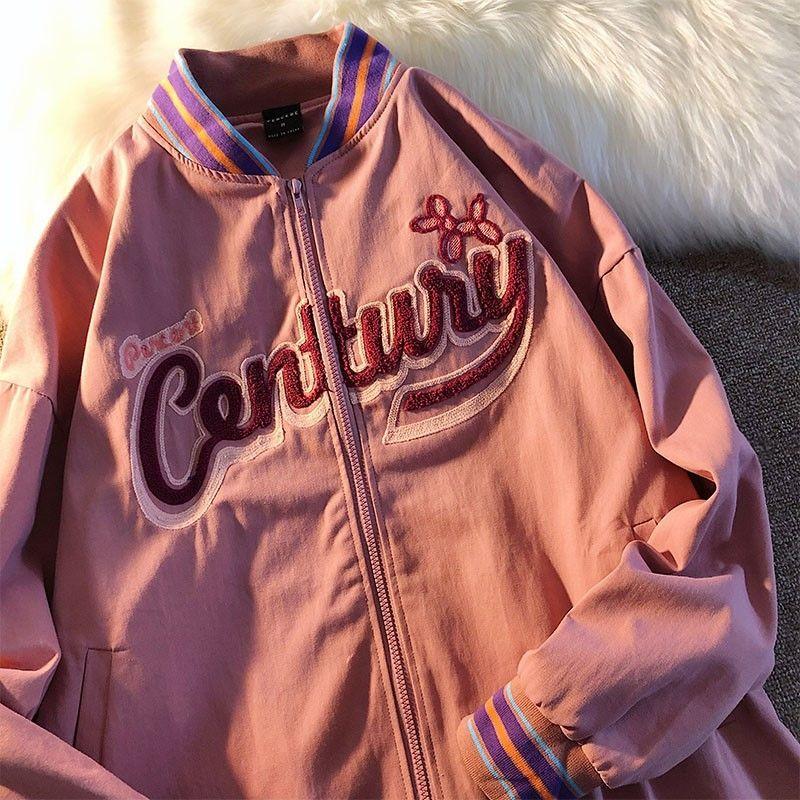 Women jacket letter baseball uniform autumn and winter new girl ins tide American retro pilot loose