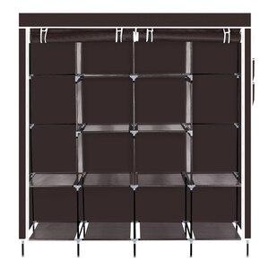 "【US Warehouse】67"" Clothes Closet Portable Wardrobes Clothes Storage Rack 12 Shelves 4 Side Pockets Dark Brown Garderobe Wardrobe"