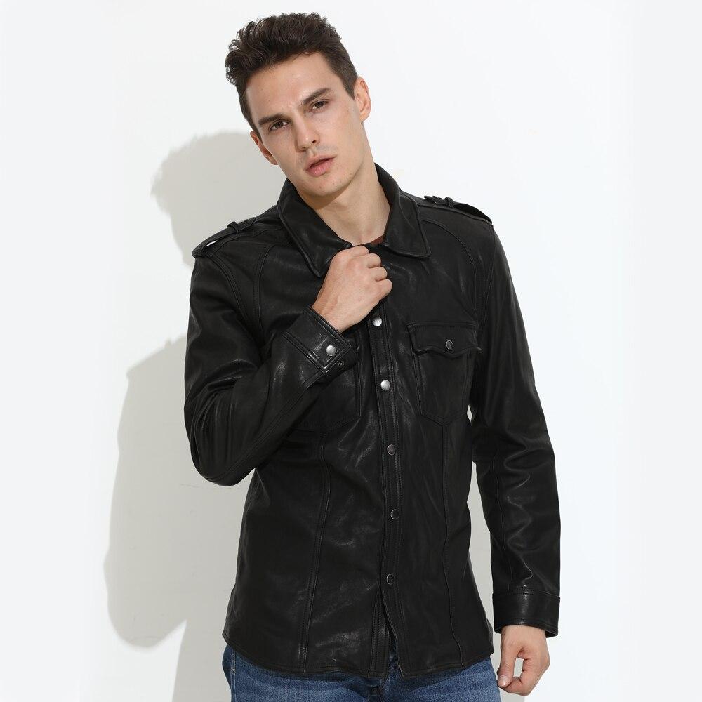 2020 Black Men Fashion Casual Single Breasted Plus Size XXXXL Genuine Sheepskin Slim Fit Autumn Leather Coat