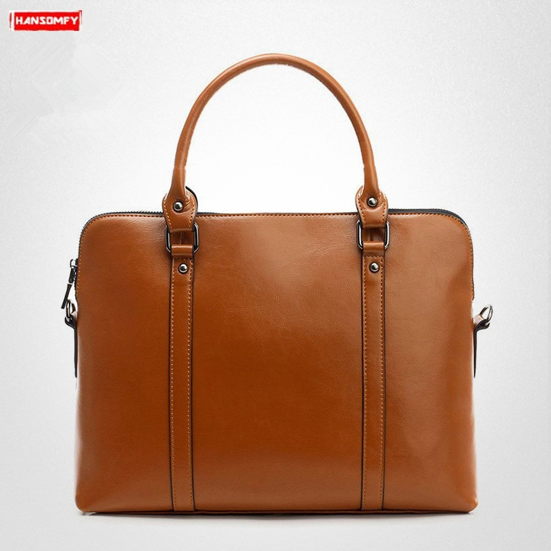 Женская сумка из натуральной кожи, женская сумка через плечо, Дамский портфель, 14 дюймов, сумка для ноутбука, простая, вместительная, деловая