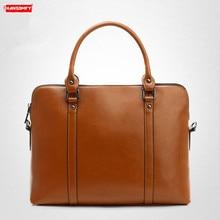 Véritable cuir femmes sac à main femme sac à bandoulière dames mallette 14 pouces pochette dordinateur Simple messager grande capacité affaires