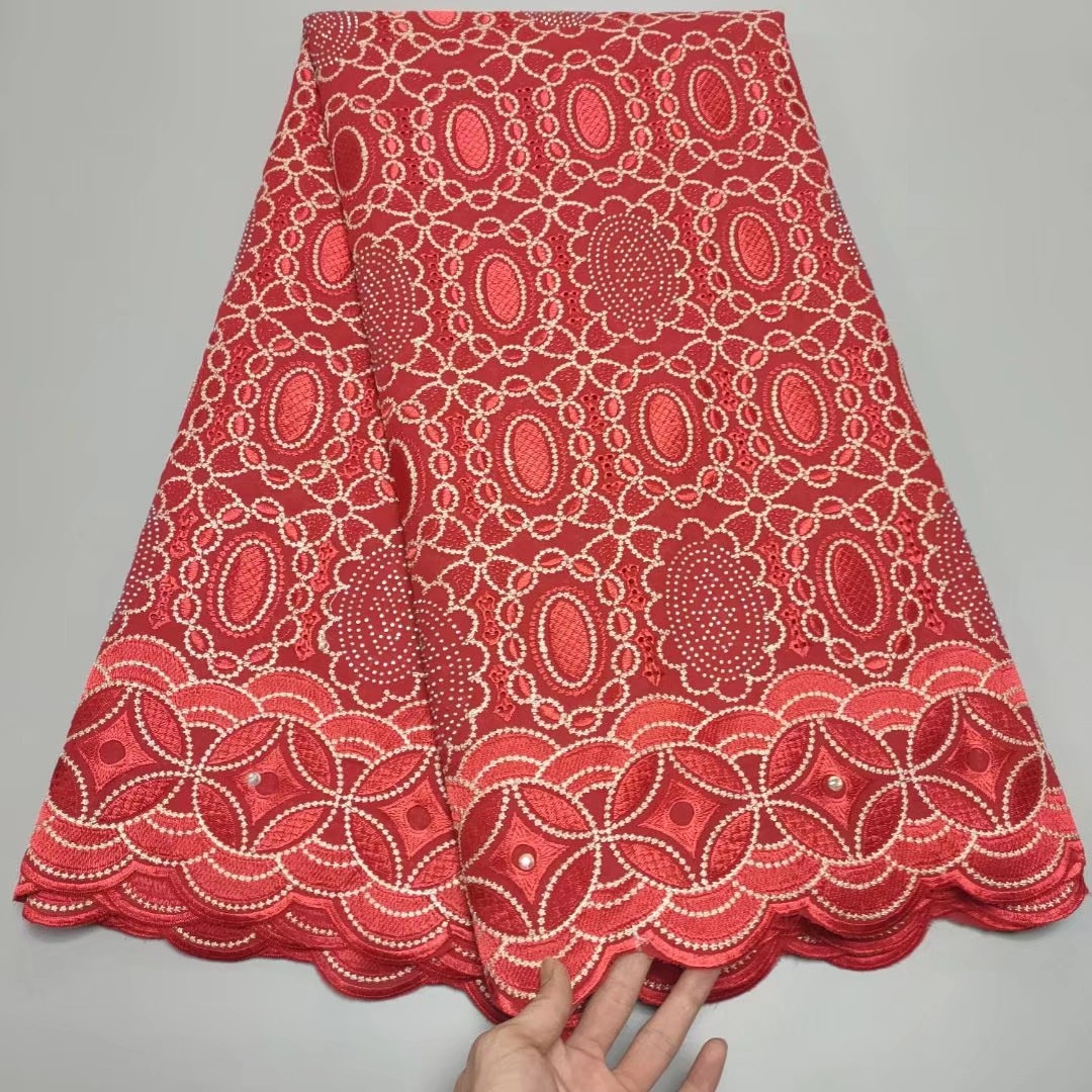 Latest Red 100% Cotton African Lace Fabric 2021 High Quality Lace Embroidered Nigerian Swiss Voile Lace In Switzerland
