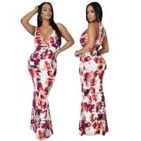 rstylish 2021 women sexy print sleeveless deep v neck casual bodycon skinny party eveing summer maxi long dress