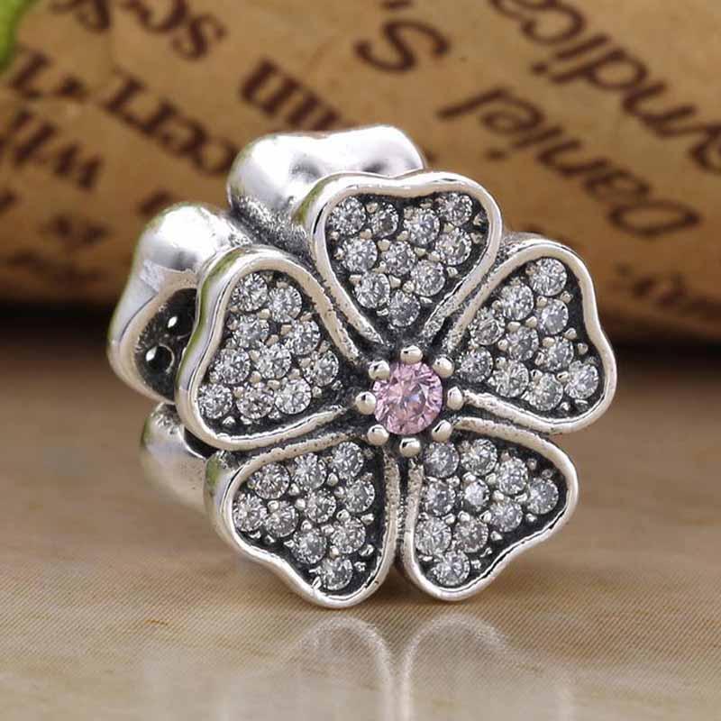 Original Apple Blossom Blume Mit Kristall Perlen Fit 925 Sterling Silber Perle Charme Armband Armreif Diy Schmuck