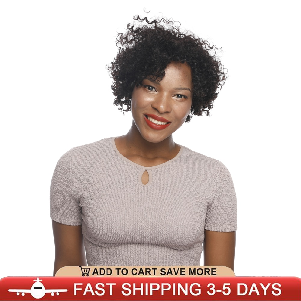 Human Black Women Beauty Forever 8 Inch Short Asteria Deep Spiral Curly Wigs Brazilian Kinky Human Natural Hair Glueless Wigs
