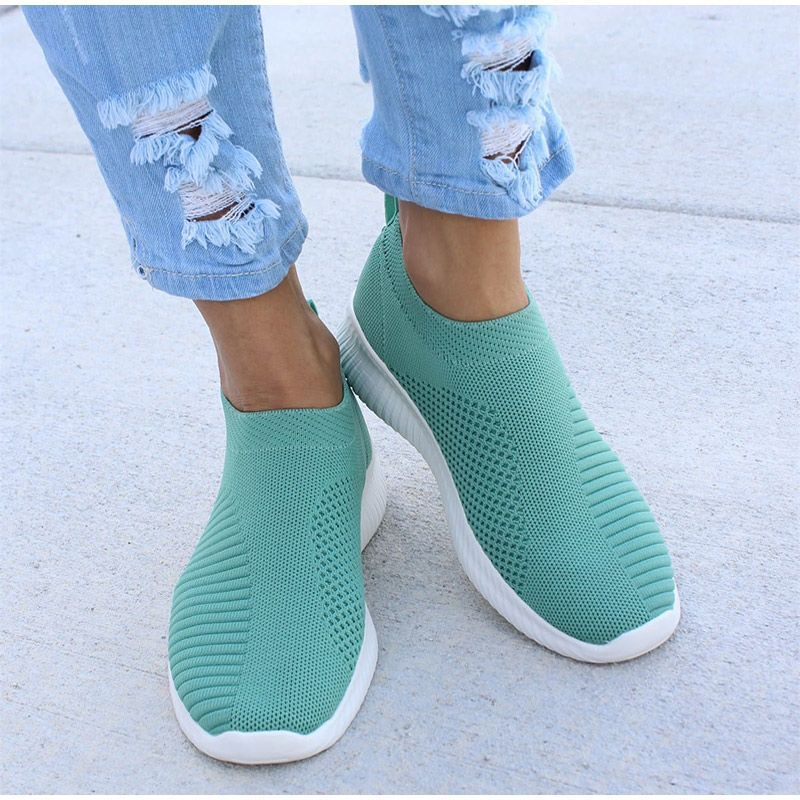 SYNXDN  Women Vulcanized Shoes Women Sneakers Breathable Slip-on Flats Shoes Outdoor Walk Flats Cozy