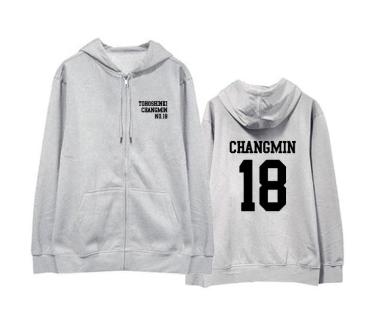Kpop tvxq tohoshinki 15 years concert same member name printing zipper hoodie jacket unisex fleece loose sweatshirt