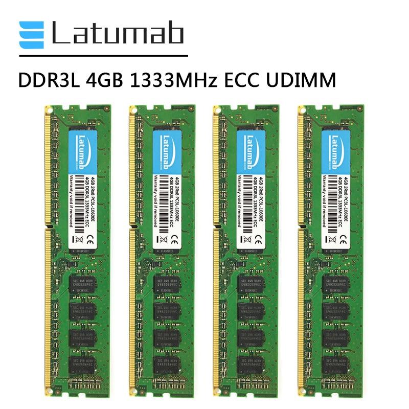 Latumab DDR3L 4GB 8GB 16GB 1333MHz محطة العمل الذاكرة 240Pin ECC UDIMM 4GB PC3L-10600E ذاكرة الوصول العشوائي ميموريا DDR3 1.35V ECC غير مخزنة