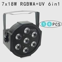 16pcslots 25 angle big lens 7x18w led par lights rgbwa uv 6in1 flat par led dmx512 disco lights professional stage dj equipment