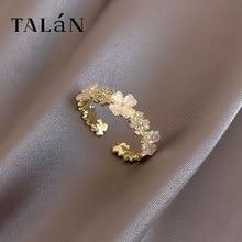 Zircon Flower Ring Light Luxury Minority Fashion Open Ring Exquisite Korean Temperament Ring Persona