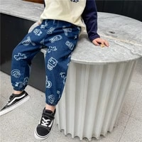 2021 new boys jeans and childrens trousers korean leisure baby jeans trousers tide
