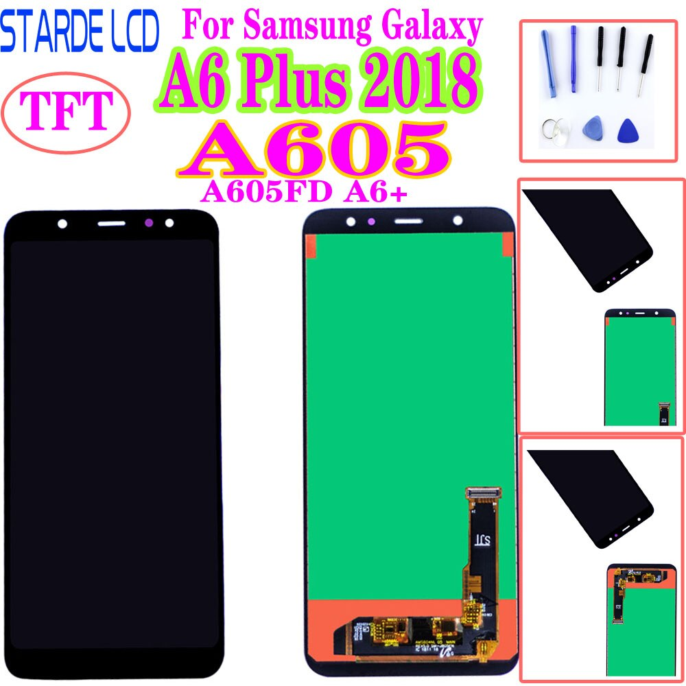 Pantalla LCD A605 para Samsung Galaxy A6 Plus 2018, Pantalla Completa A605FD A6 + A605F A605FN, pantalla táctil LCD, reemplazo del digitalizador