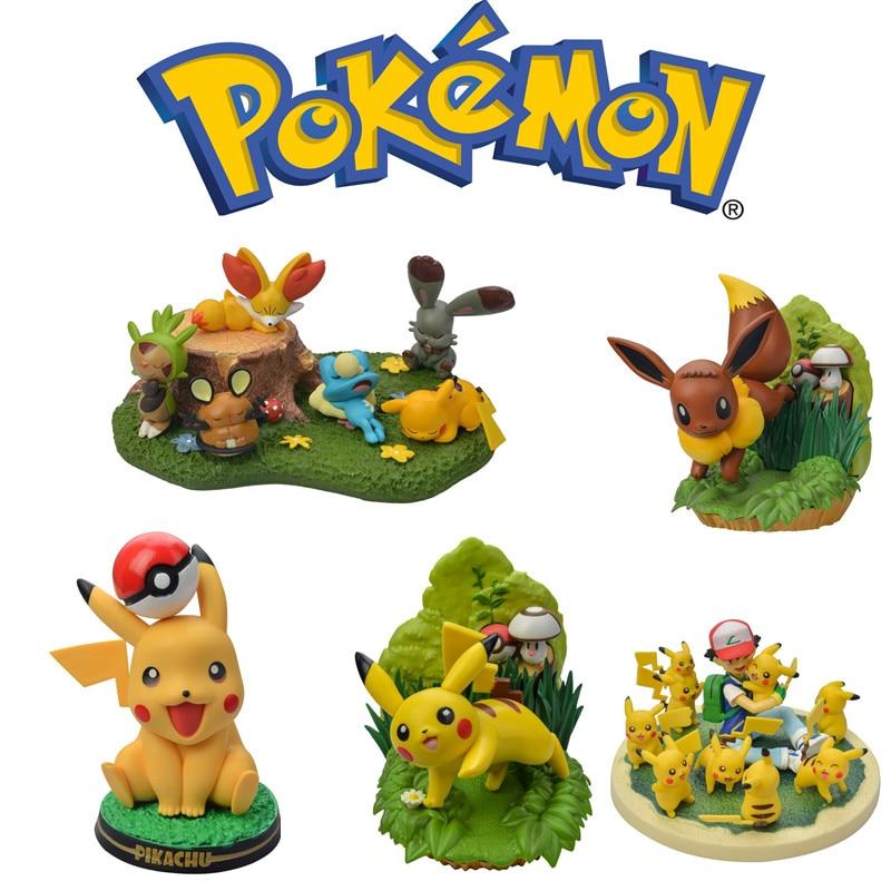 New Hot Sale Pokemon Scene Figure Model Pikachu Royal Sanjia Premium Room Decoration Pokémon Collection Rare Toy Birthday Gift