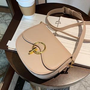 Solid color Saddle bag 2021 Fashion New High-quality PU Leather Women's Designer Handbag Vintage Shoulder Messenger Bag Purses