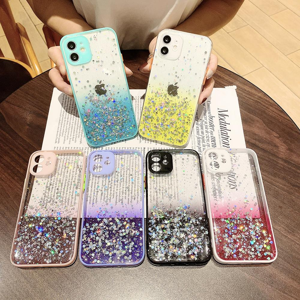 for OPPO A15 A1K A37 A3S A5 A12E A52 A72 A92 A53 A32 A33 Phone Case Candy Colors Bling Gradient Glit