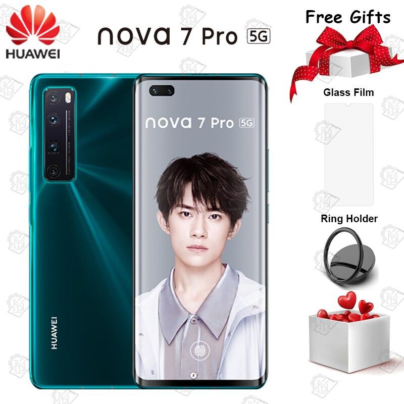 Оригинальный Huawei Nova 7 Pro 5G чехла с листочком для мобильного телефона 6,57 дюйма OLED экран 8G + 128G Kirin 985 SOC 4000 мА/ч, 64.0MP Основная камера NFC Смартфон