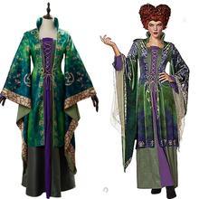 Hocus Pocus Winifred Sanderson Cosplay disfraz túnica de bruja malvada uniforme fiesta elegante vestido de adulto para Halloween carnaval traje Mujer