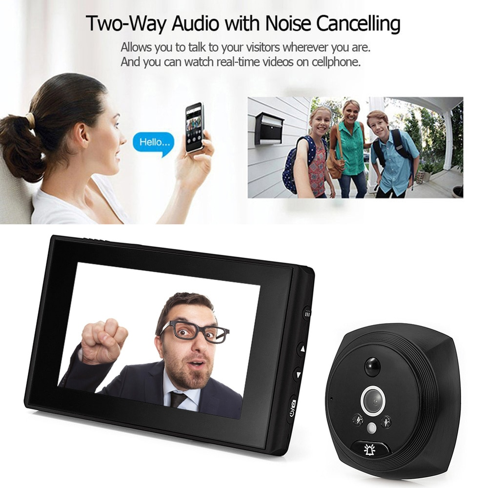 N6 4.3 Inch Wireless Digital Door Eye Camera Wide Angle Video Photo Peephole Night Vision PIR Motion Electronic Doorbell Viewer enlarge