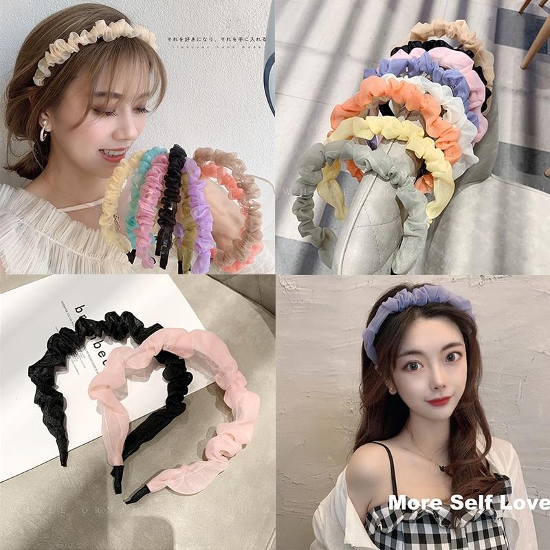 Korean Fine Sweet Simple Mesh Headband Hair Band for Women Headdress Hair Card Fashion Hair Accessories Headbands Bandana Gift simple semicycle alloy decorated hair band for women