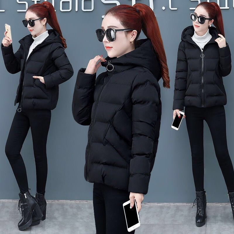 2020 Jacket Women Winter Fashion Warm Thick Solid Short Style Cotton padded Parkas Coat Stand Collar Padded jacket недорого