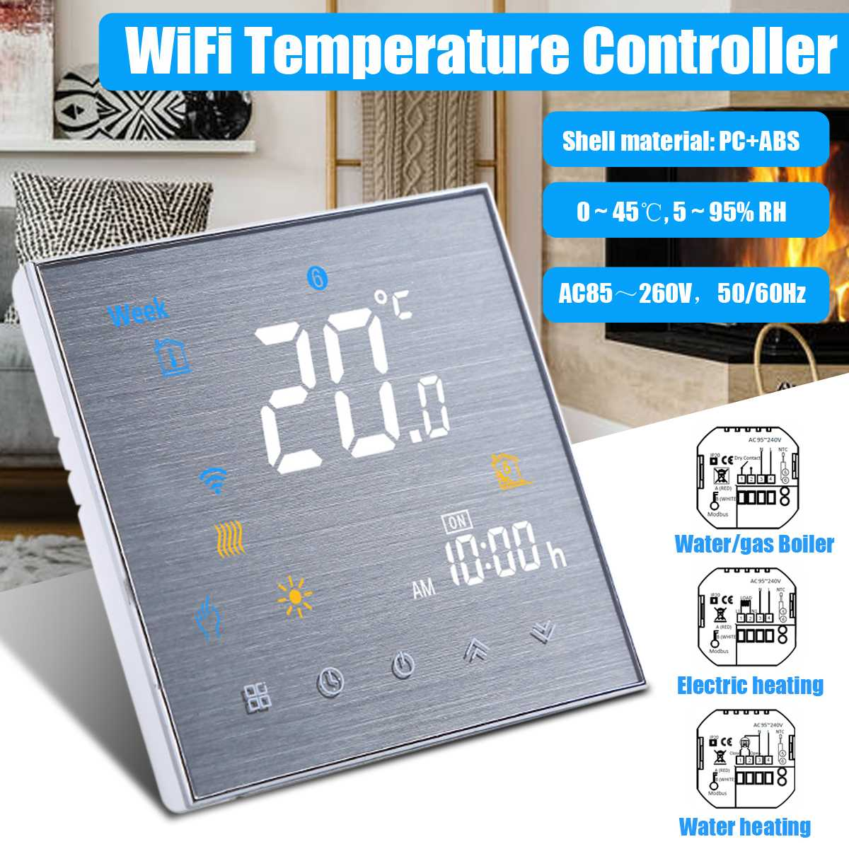 Termostato inteligente con WiFi, termostato para calefacción de agua, suelos, calentador de Gas, controlador de temperatura, Control de voz para Google Home