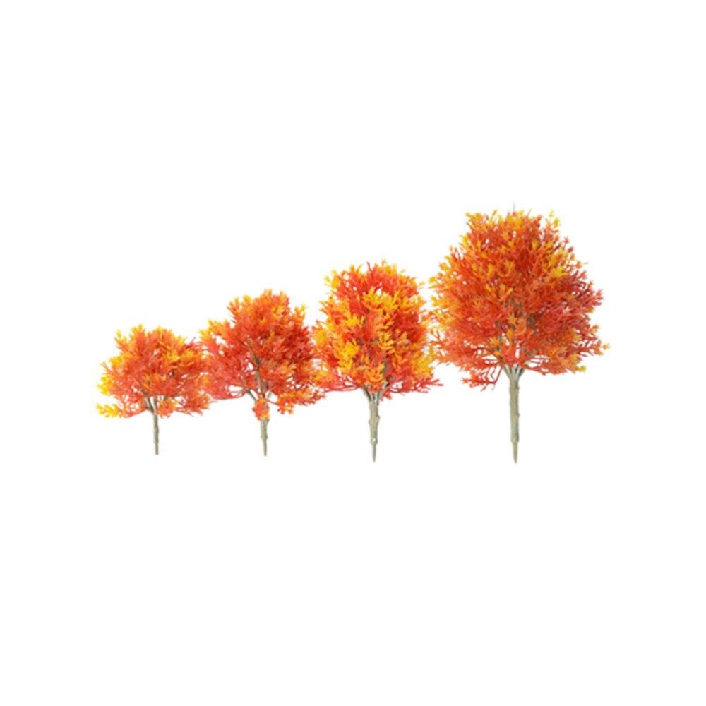 Modelo de Mini árbol de arce para casa DIY, accesorios para jardín, paisaje DIY hecho a mano, Material de paisaje naranja 19/15/13/10cm 4 Uds.