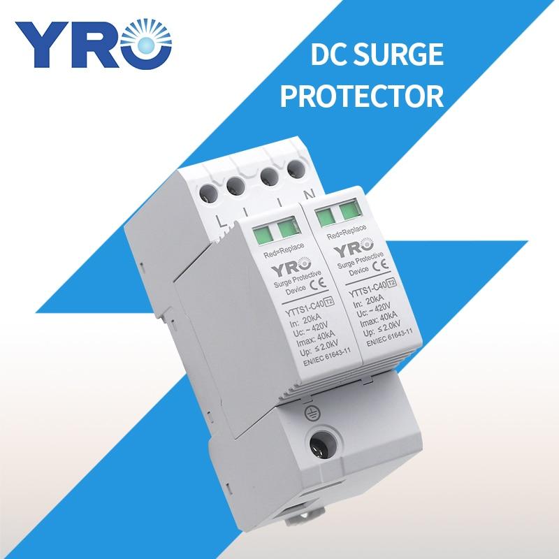 التيار المتناوب SPD 4P 20-40KA 420 فولت البيت البرق عرام حامي واقية الجهد المنخفض جهاز القبض OEM مصنع YRSP-A2-2P/T2