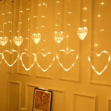 Cadena de lámpara cortina lámpara de hadas Cadena de luz Super brillante romántico Durable forma de corazón 2,5 M 220V 8 modos Festival jardín al aire libre
