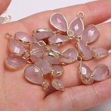 3 uds Cuarzo Rosa Natural facetado caer en forma de Semi-colgantes de piedra preciosa haciendo joyería, colgante, accesorios tamaño 10x14mm